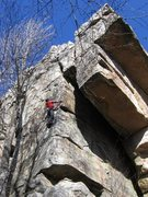 Rock Climbing Photo: On the arete.  Fun!