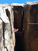 Rock Climbing Photo: Up in the roof.  From here you go onto the front f...