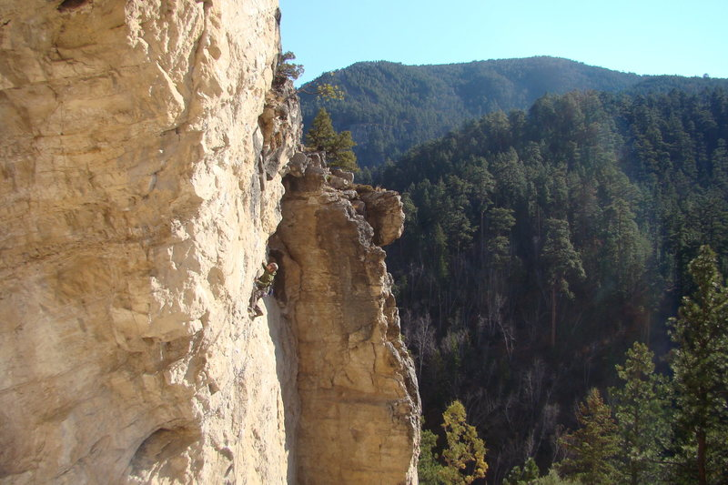 Rock Climbing Photo: Lee setting up for a crux move on the lower half o...