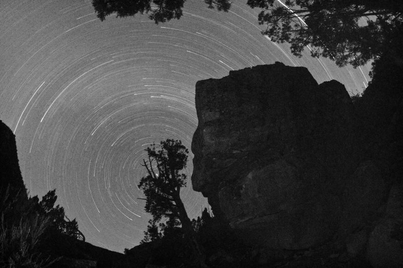 Rock Climbing Photo: © Jason Kaplan. More star trails, no climber this...