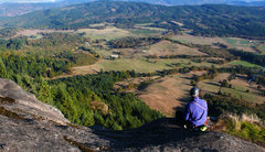 Rock Climbing Photo: Hanging out at the top, overlooking the valley bel...