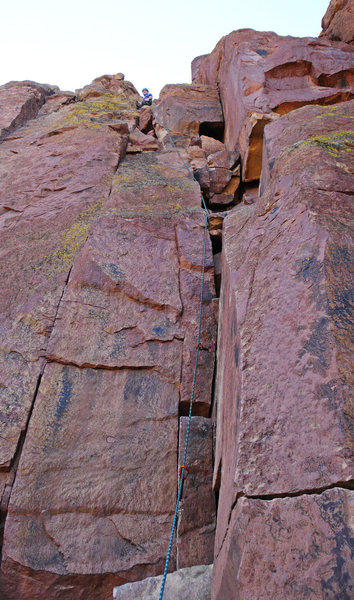 Rock Climbing Photo: Leading Moscow (5.6) at Smith's Red Wall