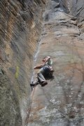Rock Climbing Photo: My first 5.10a trad onsight attempt, on cruising l...
