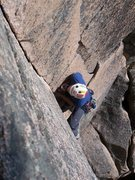 Leading Old Town, a classic Acadia climb