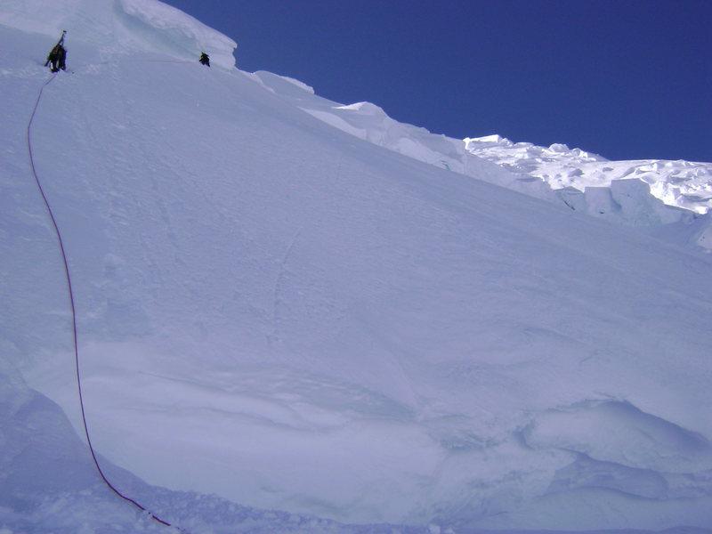 Crossing the bergshrund on Mt. Blackburn