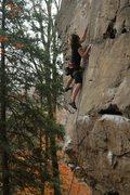 Rock Climbing Photo: Lily teching through the start