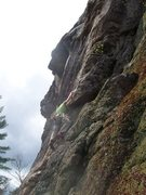 Rock Climbing Photo: Positive holds under the roof of pitch 1