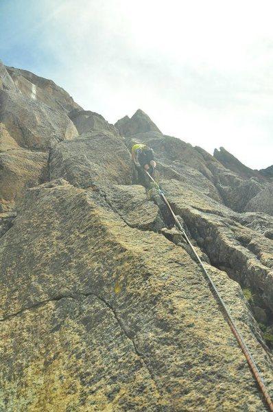Rock Climbing Photo: Dennis starts up Clemenzo.