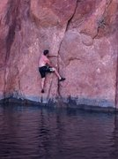Rock Climbing Photo: Following a nice solid flake out of the water at L...