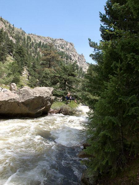 Rock Climbing Photo: Tyrolean traverse. Boulder Canyon