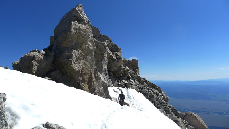 Rock Climbing Photo: Last snow field of the Exum ridge. Sept. 5,2011