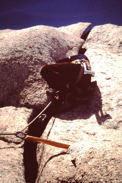 Rock Climbing Photo: Mark Ward on the first ascent in '76.  Bought a Tu...
