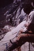 Rock Climbing Photo: Dave Smith following pitch 2 with limited pro.  Ea...