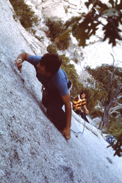 Kim Miller leading with a fine swiss watch, Mark Ward belaying with long hair and a full beard.<br> <br> Mid 70's <br> <br> Pic may be reversed.
