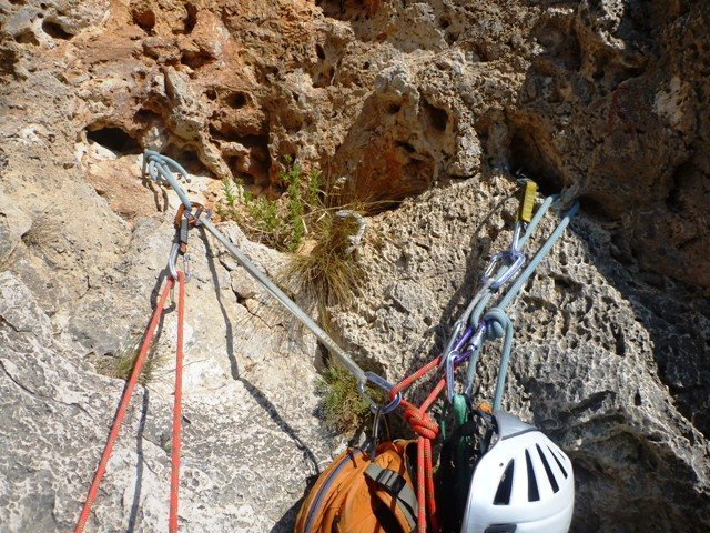 Rock Climbing Photo: Dubious thread belay at the end of the 3rd pitch o...
