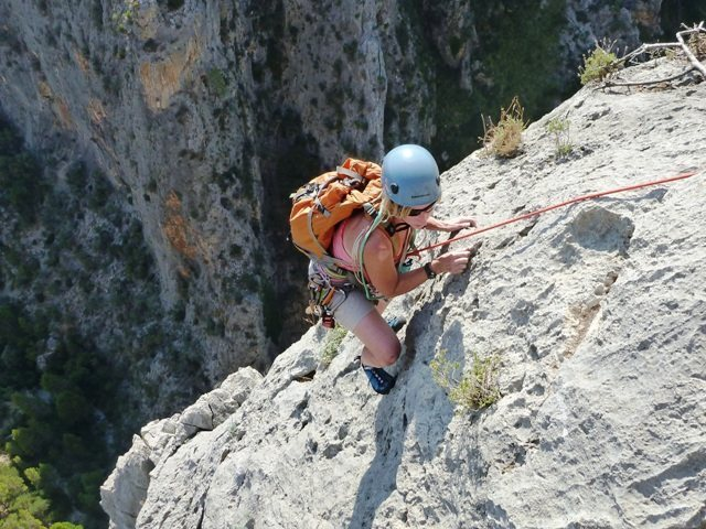 LeAnn topping out the 7th pitch on Albahida