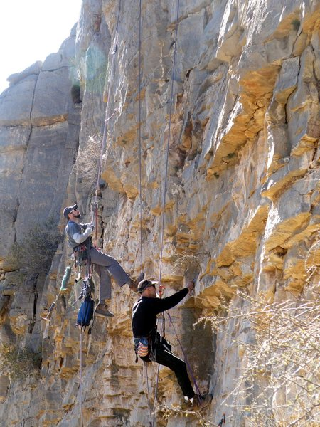Rock Climbing Photo: Bolting new routes on the Mouse Wall in 2009 (Mous...