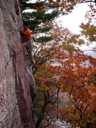 Rock Climbing Photo: Kris on Charybdis, just before it started pouring ...