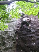 Rock Climbing Photo: Matt heading to the anchors