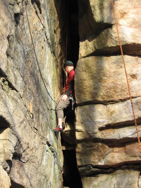 Rock Climbing Photo: Resting in the crux lower part of the chimney.  No...