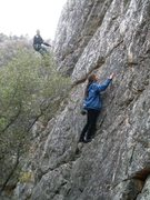 Rock Climbing Photo: Caroline working the Bobino Direct on a drizzly No...
