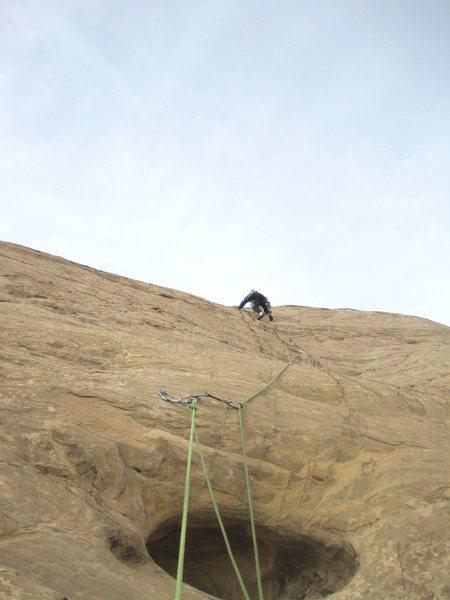 Rock Climbing Photo: Paul on P5 to the summit