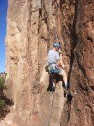 Rock Climbing Photo: Nice jams to start.  Paul on Kalahari Sidewinder.