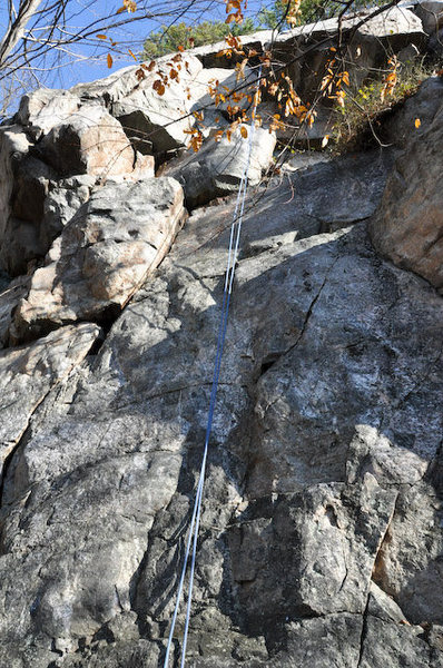 Rock Climbing Photo: Three Mantles and an Overhang runs just left of th...