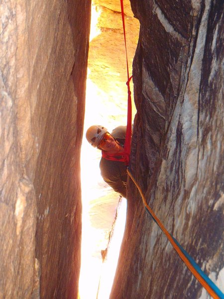 Rock Climbing Photo: Starting the tunnel on pitch 2 of Arch Enemy.