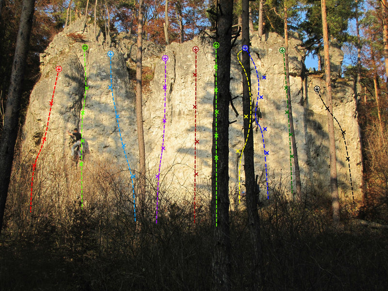 Rock Climbing Photo: The routes from left to right: Schönwetter (red),...