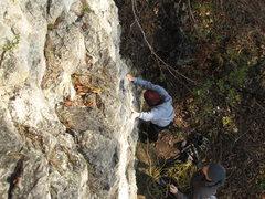 "Rock Climbing Photo: Katharina starting ""Schön leicht""."