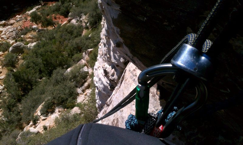 rappelling down the last pitch