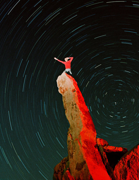Star trails on Aiguille de Joshua Tree.  Shot on film.