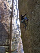Rock Climbing Photo: Remo on the middle moves of Blue Velvet