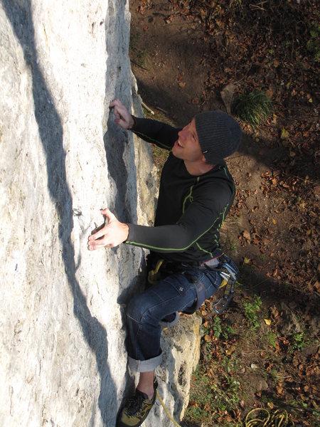 Rock Climbing Photo: Stephan balancing up Schöne Platte.
