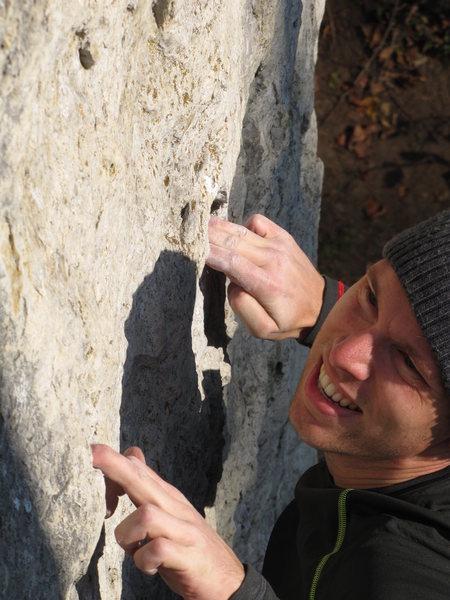 Rock Climbing Photo: Stephan wishing this mono was a little deeper.