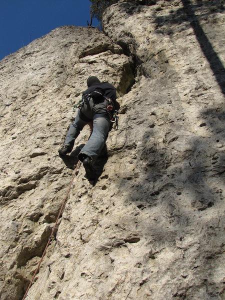 Me in Schöner Riss, a very featured crack climb.