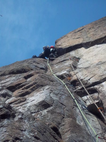 Rock Climbing Photo: Scott Arno leads P1 of A Touch of Class(5.9+) at M...