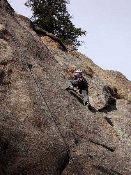 Rock Climbing Photo: Ivan slabbin' it at the crux.
