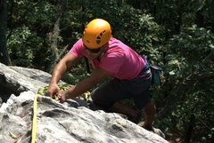 Rock Climbing Photo: Taking down an anchor at Pilot.