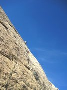 Rock Climbing Photo: Andy higher on P1