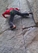 Rock Climbing Photo: The crux on Lost Arrow