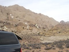 Rock Climbing Photo: Routes from the Two Fingers parking area. A)Feet F...