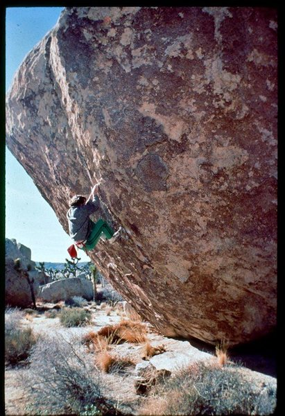 Rock Climbing Photo: JL, So High solo in tennis shoes, 1975. The slab m...