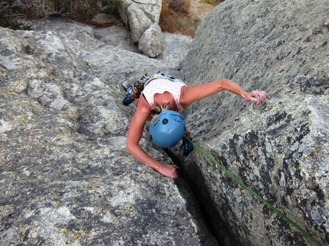Rock Climbing Photo: NBD on BFD Rock.    LeAnn gettin' er done.