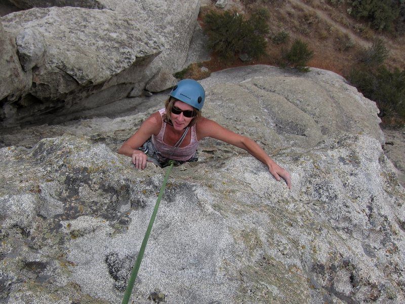 WTF.  LeAnn all smiles near the top of BFD Rock.