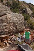 Rock Climbing Photo: Lance on the holy boulder