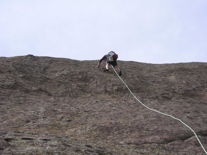 Lacing up the second pitch of Smooth.  photo by Roger Poage.