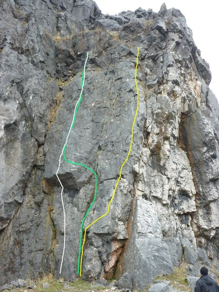 Great White is the green and Naked Spur is the yellow. Orca is the 5.10b alternative start(white line).