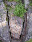 Rock Climbing Photo: Climbs from left to right Next To Nothing 5.12 Bla...